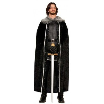 Mens Faux Fur Trimmed Black Kings Cape Fancy Dress Costume