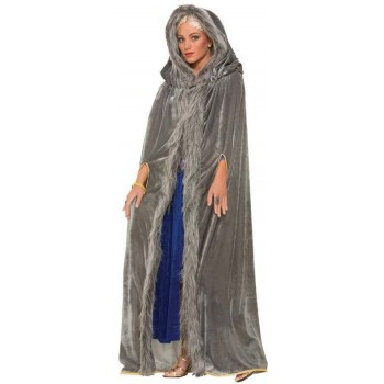 Ladies Grey Faux Fur Trimmed Medieval Cape Fancy Dress Costume