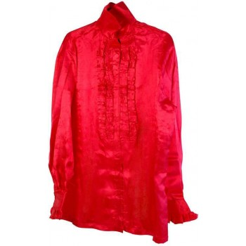 Satin Shirt & Ruffles. Red (1970S Fancy Dress)