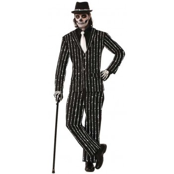 Mens Mr Bones Pin Stripe Suit Halloween Fancy Dress Costume