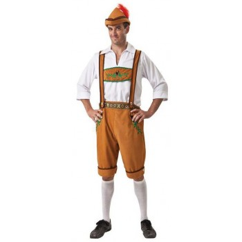 Mens Brown Oktoberfest Man Fancy Dress Costume