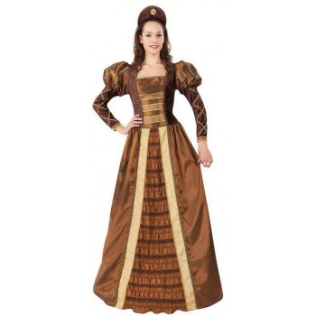 Ladies Golden Medieval Queen Fancy Dress Costume