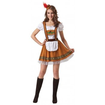 Ladies Brown Oktoberfest Girl Fancy Dress Costume