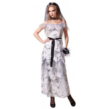 Ladies White Deathly Gothic Zombie Corpse Bride Halloween Fancy Dress Costume
