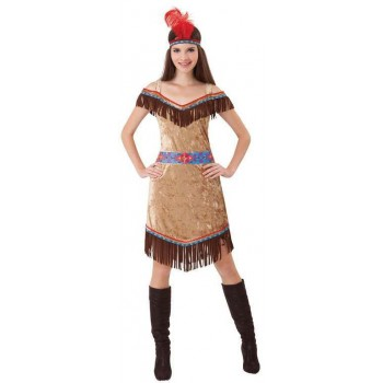 Ladies Deluxe Native American Fancy Dress Costume