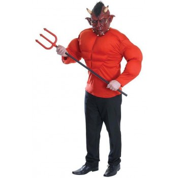 Mens Red Padded Devil/Demon Top Halloween Fancy Dress Costume