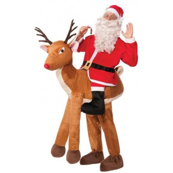 Festive Adult Santa Ride A Reindeer Christmas Fancy Dress Costume