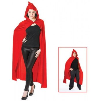 Cape. Long Hooded. Red (Halloween Fancy Dress)
