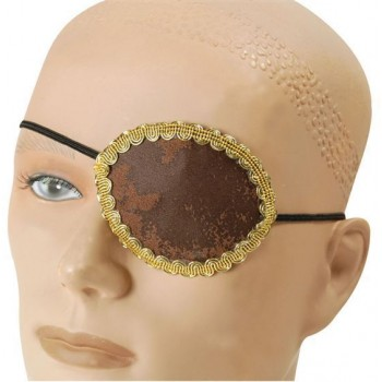 Pirate Brown Eye Patch + Gold Trim (Pirates Fancy Dress)