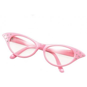 Glasses. 50'S Female Style Pink (1950S Fancy Dress Glasses)