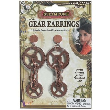 Ladies Steampunk Gear Earrings Fancy Dress Accessory
