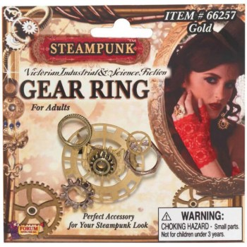 Ladies Steampunk Gear Ring Fancy Dress Accessory