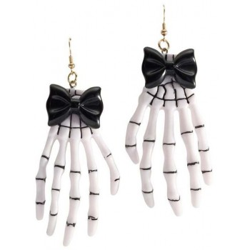 Ladies White Skeleton Hand Ear Rings Halloween Fancy Dress Accessory