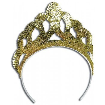 Tiara. Sequin Gold Large (Royalty , Fairy Tales Fancy Dress Hats)