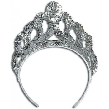 Tiara. Sequin Silver Large (Royalty , Fairy Tales Fancy Dress Hats)