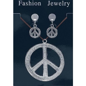 Ladies Peace Sign Necklace & Earrings Fancy Dress Accessory