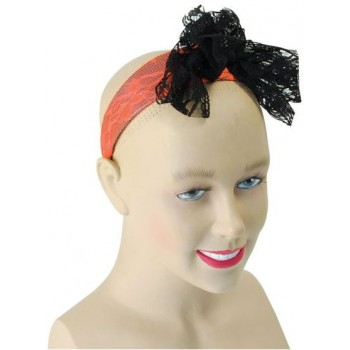 80'S Neon Lace Headband. Orange (1980S Fancy Dress)