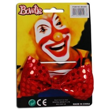 Bow Tie Sequin. Red (Clowns Fancy Dress)