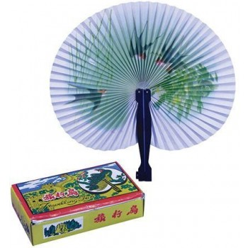 Single Paper Fan. Plastic Handle (Oriental , Cultures Fancy Dress Decorations)