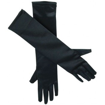 "Gloves. Satin 19"" Black (1920S , Burlesque Fancy Dress Gloves)"