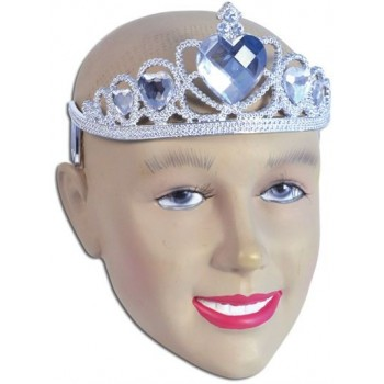 Tiara. Silver Plastic + Clear Stone (Royalty , Fairy Tales Fancy Dress Hats)