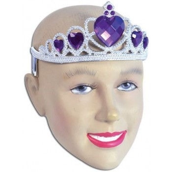 Tiara. Silver Plastic + Purple Stone (Royalty , Fairy Tales Fancy Dress Hats)