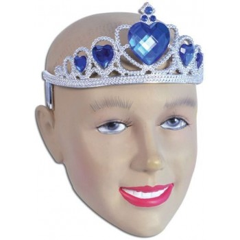 Tiara. Silver Plastic + Blue Stone (Royalty , Fairy Tales Fancy Dress Hats)