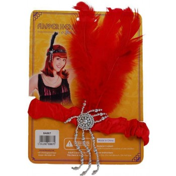 Flapper Headband & Red Feathers (1920S , Burlesque Fancy Dress)