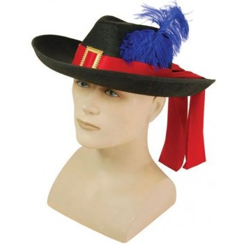 Musketeer. Black/Feather (Musketeers , Medieval Fancy Dress Hats)