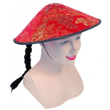 Chinese Coolie Red Fabric Hat + Plait (Cultures Fancy Dress Hats)