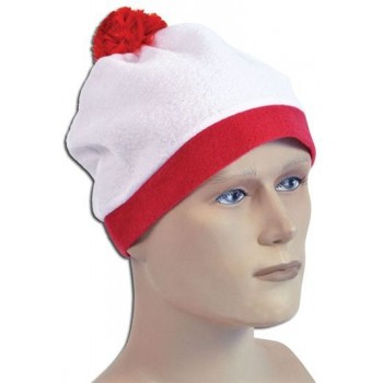 Bobble Hat. White + Red Pom Pom (Cartoon , 1980S Fancy Dress Hats)