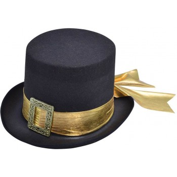 Mens Top Hat Black W/Gold Belt