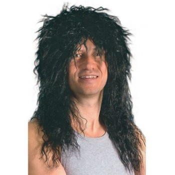 Male Rock Star Black Wig (1970S , 1980S Fancy Dress Wigs)