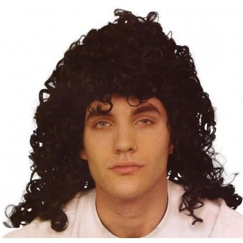 Glam Rock Black Wig (1970S , 1980S Fancy Dress Wigs)