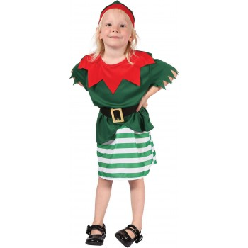 Girls Toddlers Red And Green Santas Helper Fancy Dress Costume