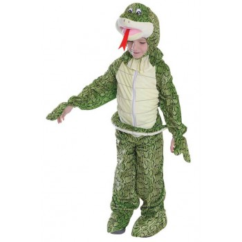 Childs Cute Snake Jumpsuit With Head 128Cm Fancy Dress Costume