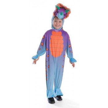 Childs Colourful Triceratops Jumpsuit With Head Fancy Dress Costume