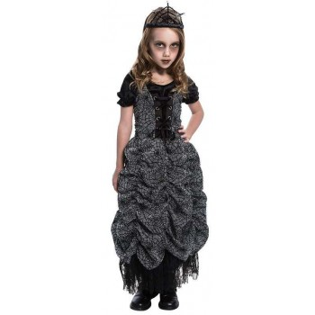 GIRLS BLACK SPIDER COFFIN PRINCESS HALLOWEEN FANCY DRESS COSTUME