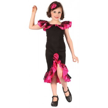 Childs Black/Pink Spanish Rumba Girl Fancy Dress Costume