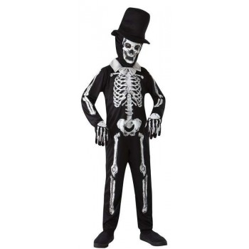 Boys Skeleton Bone Zombie Halloween Fancy Dress Costume