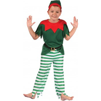 Boys Red And Green Chrsitams Santas Helper Fancy Dress Costume