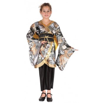 Girls Black/Gold Oriental Geisha Fancy Dress Costume