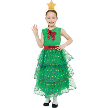 Girls Green Christmas Tree Christmas Fancy Dress Costume