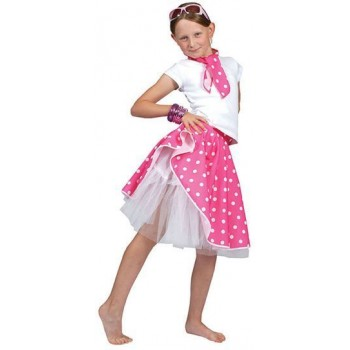 Rock 'N' Roll Skirt. Pink Fancy Dress Costume