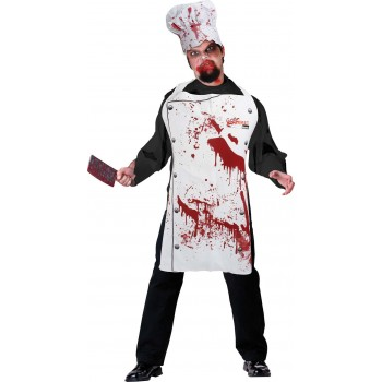 Adult White (Chef Set Bloody) Fancy Dress Costume