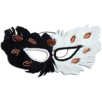 Feather Eye Mask. Black/White (Fancy Dress Eyemasks)