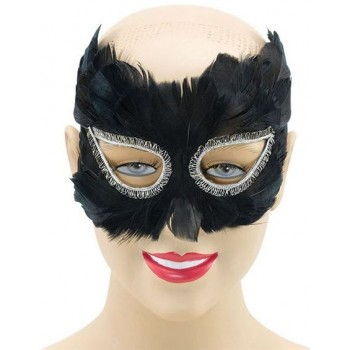 Black Feather Eye Mask (Fancy Dress Eyemasks)