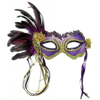 Purple Metallic + Side Feather Mask (Fancy Dress Eyemasks)