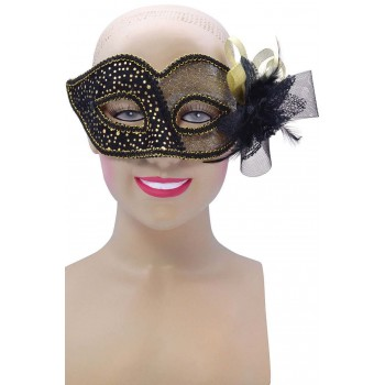 Ladies Black/Gold Spot Half Transparent(Glasses Style)Eyemask