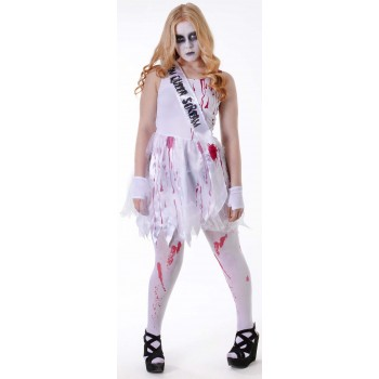 GIRLS WHITE (BLOODY PROM QUEEN) FANCY DRESS COSTUME